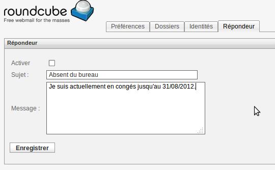 Configuration de la vacation via le webmail RoundCube